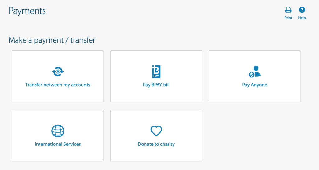 ANZ銀行からオンライン送金する